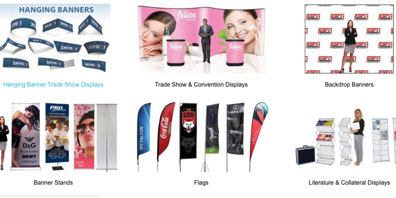 Vinyl banners, trade show displays, retractable banner stands, pop up displays